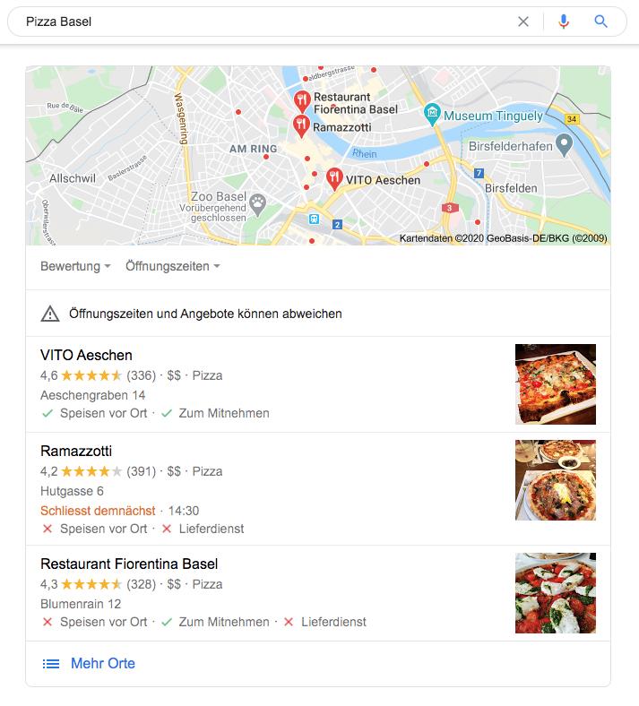 Beispiel-Abbildung: Google Snack Pack für die Suche nach «Pizza Basel»