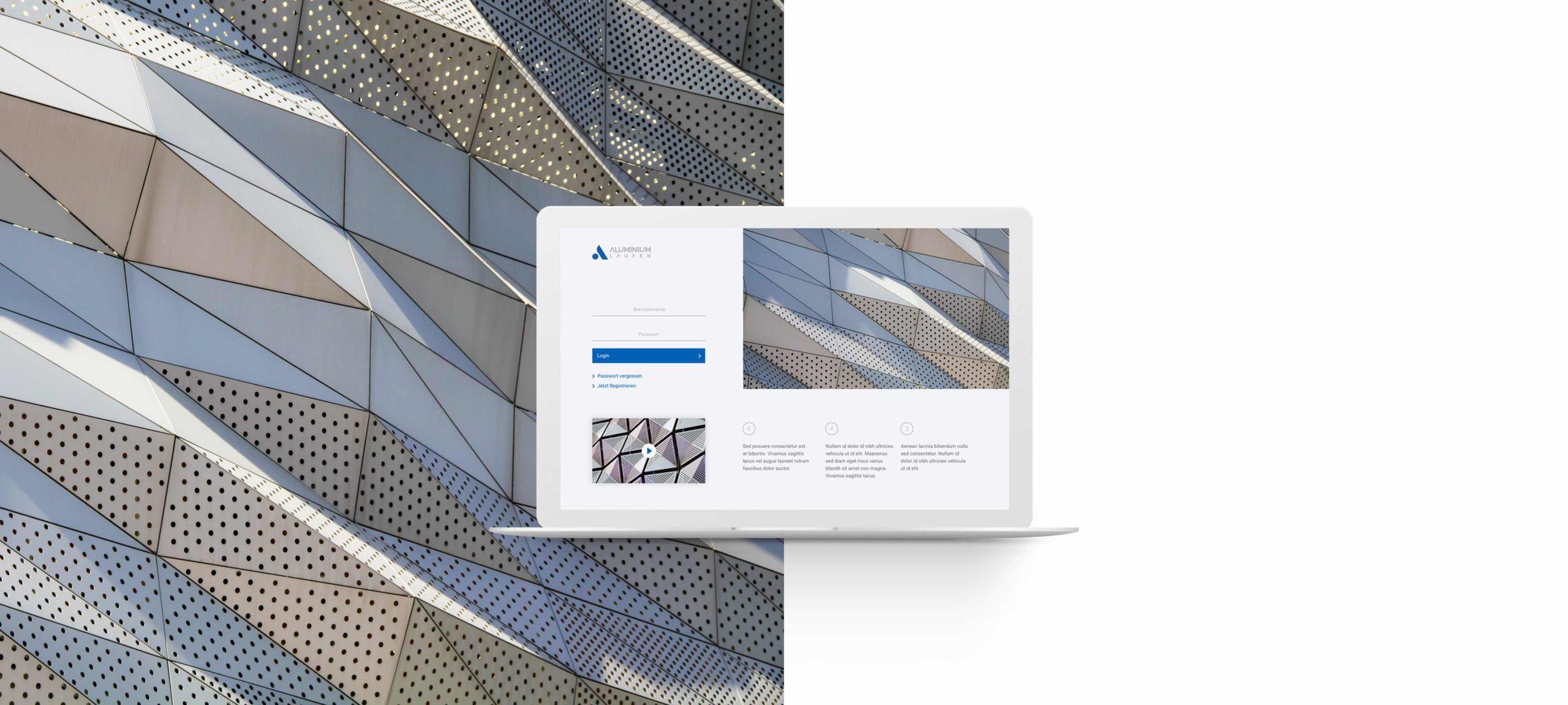 Aluminium Laufen Website visualisiert auf einem Laptop