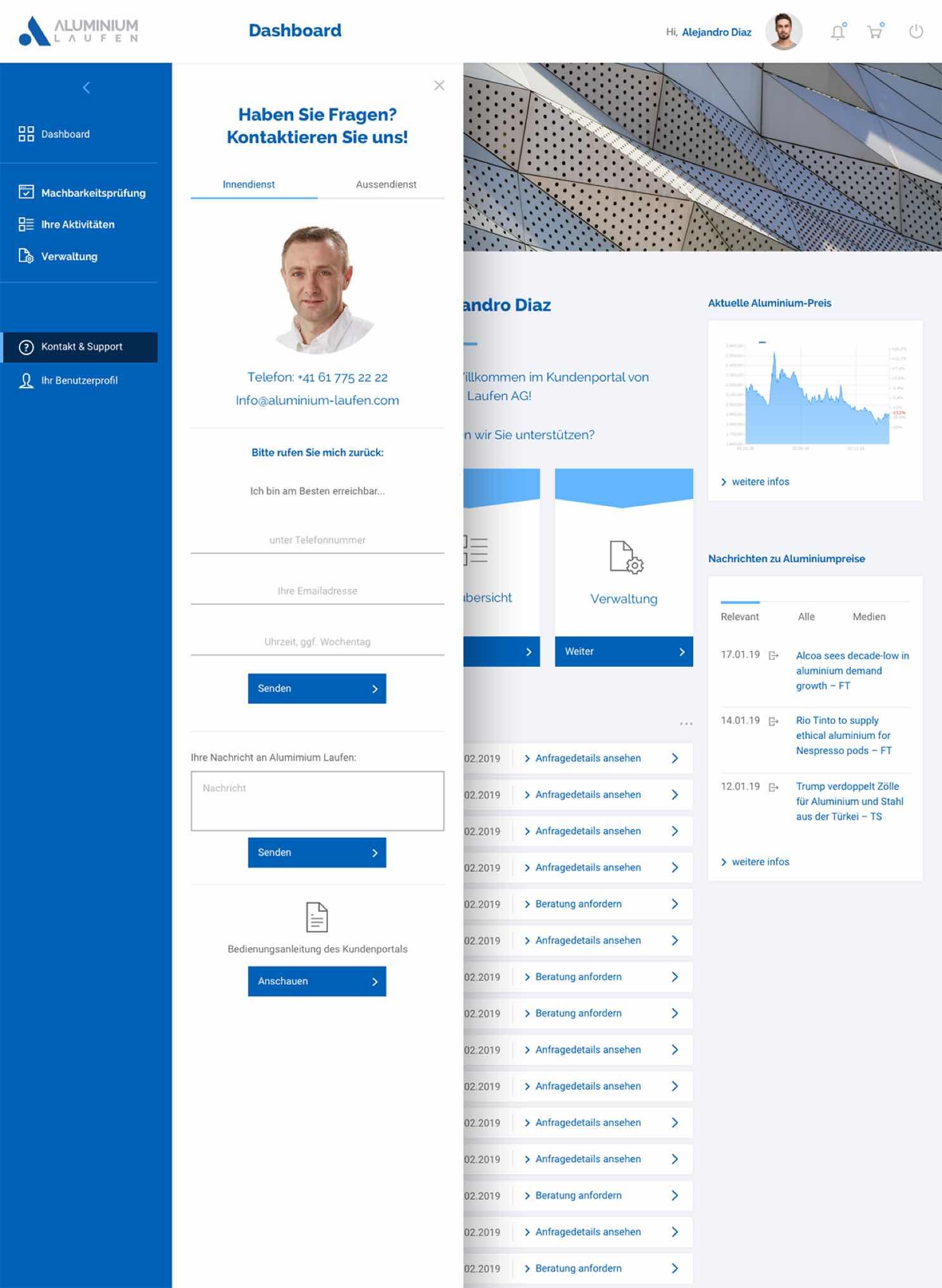 Visualisierung des Kundenportals von Aluminium Laufen