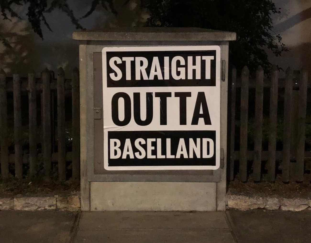Sticker mit Schriftzug «Straight outta Baselland»