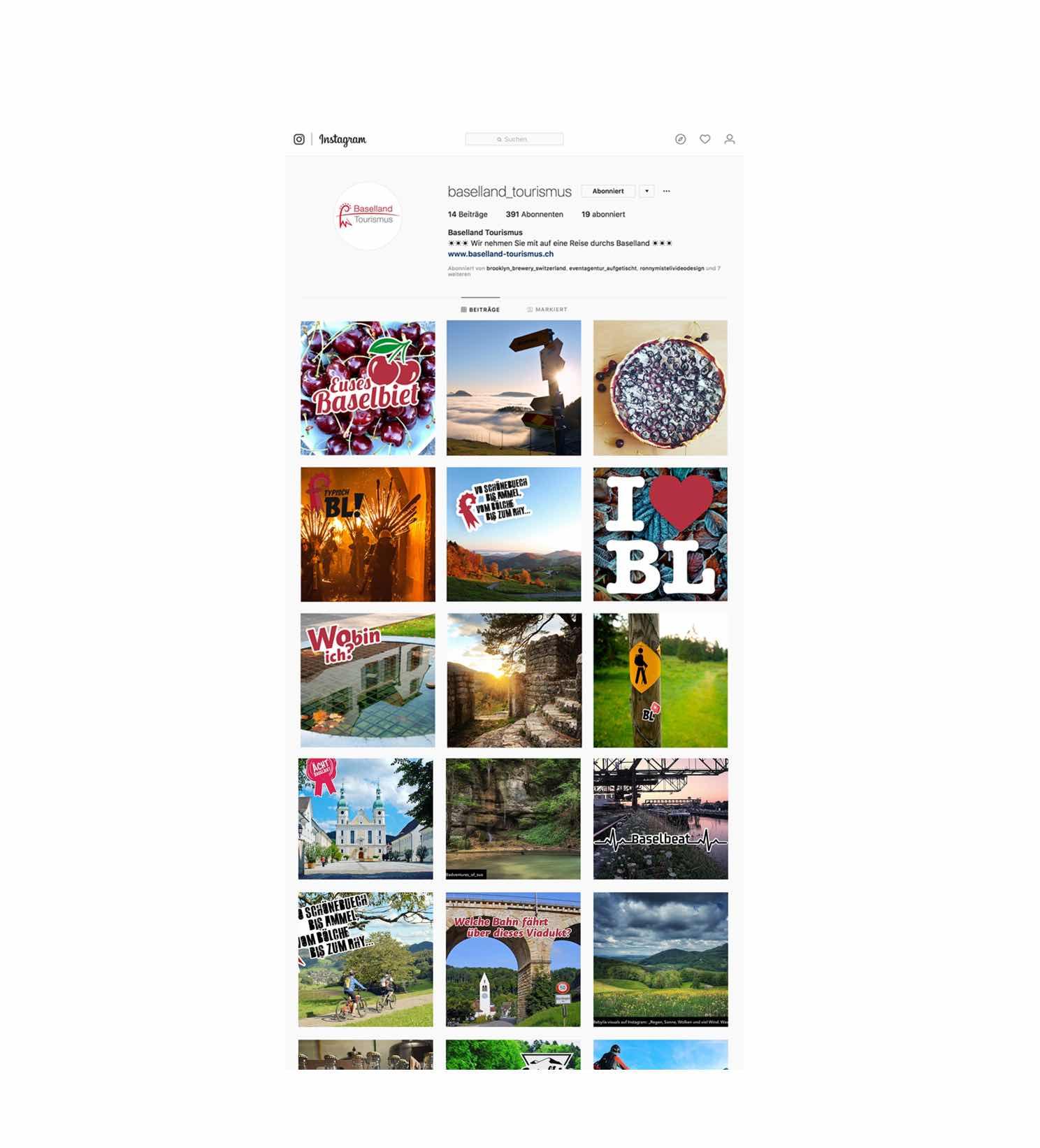 Instagram-Kanal von Baselland Tourismus