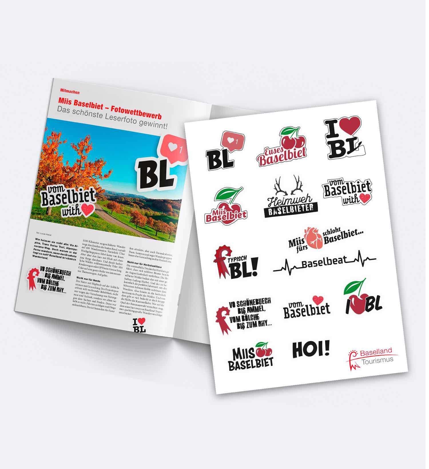 Stickerbogen und PR-Artikel der I love BL-Kampagne