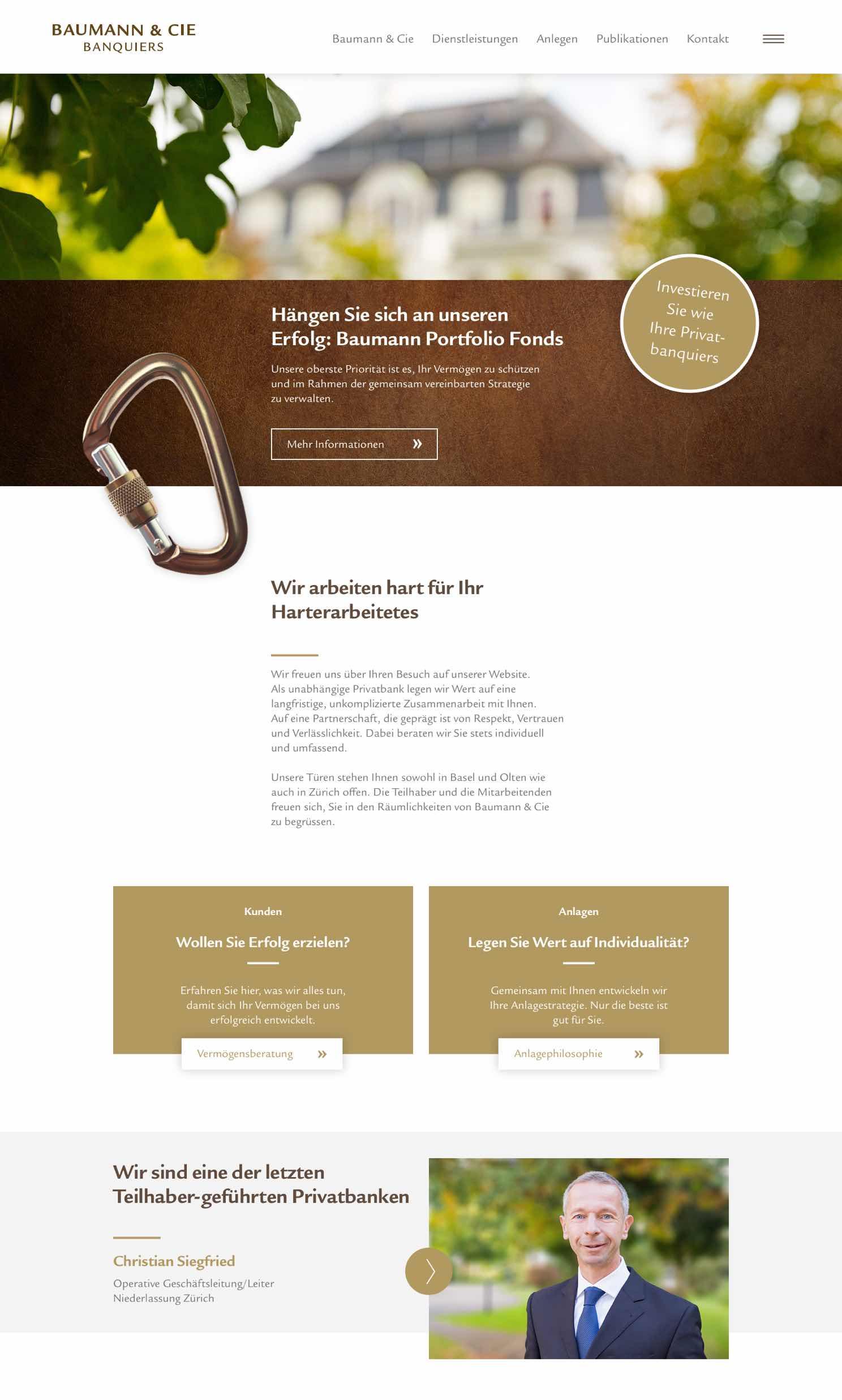 Visualisierung der Website von Baumann & Cie