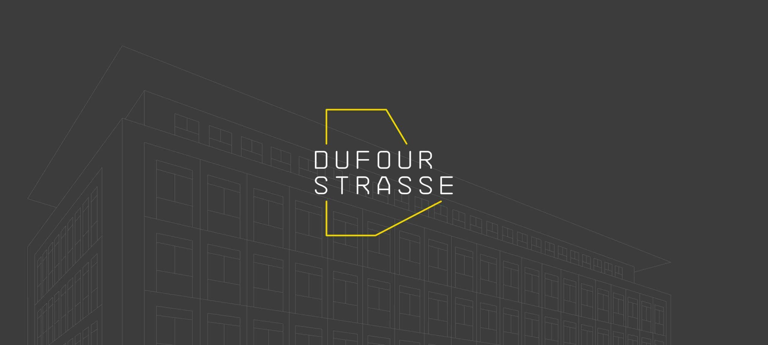 Logo von der Dufourstrasse auf einem Hintergrund auf dem ein Haus skizziert ist