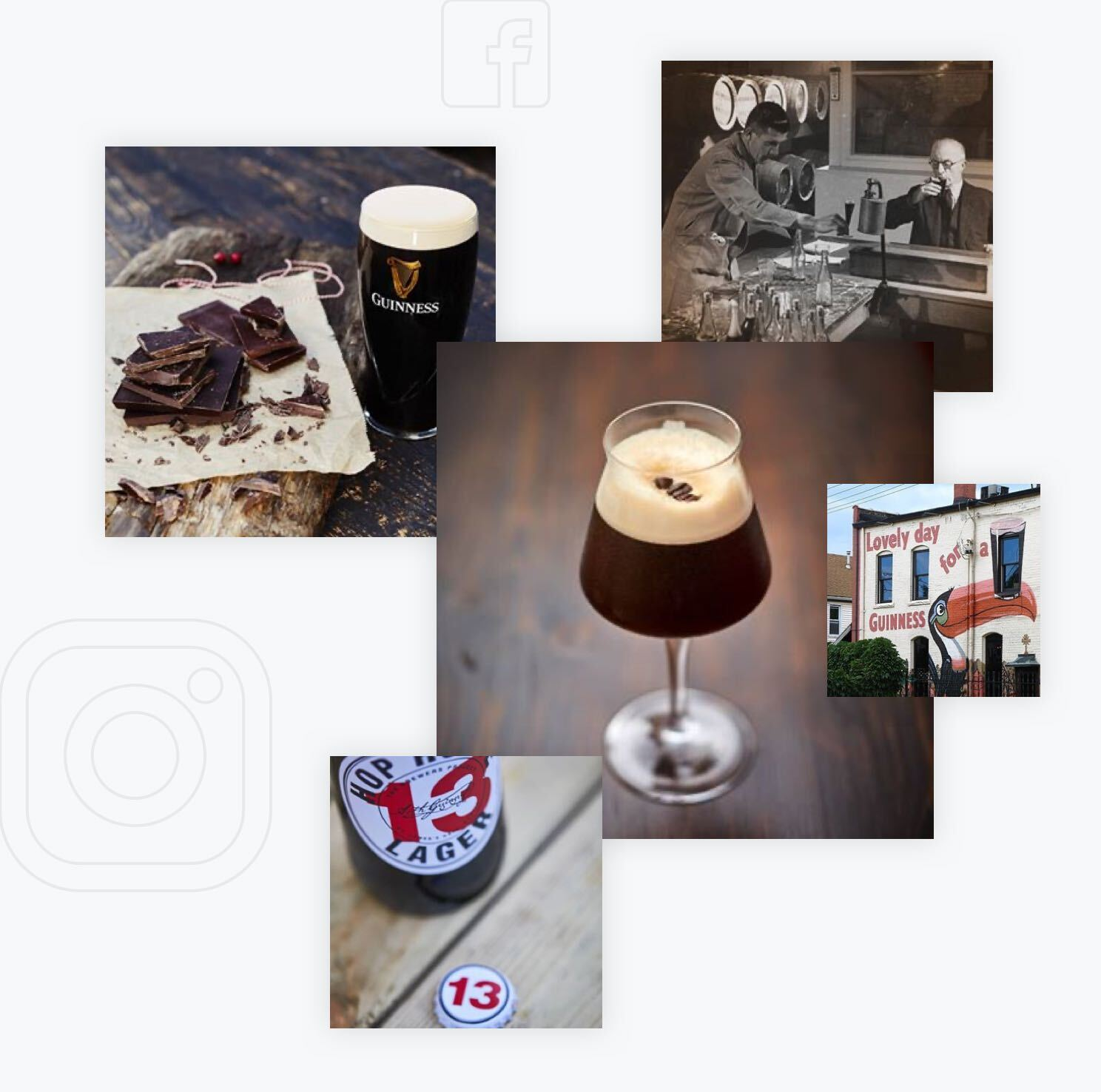 Verschiedene Bilder von den Social Media Kanälen von Guinness