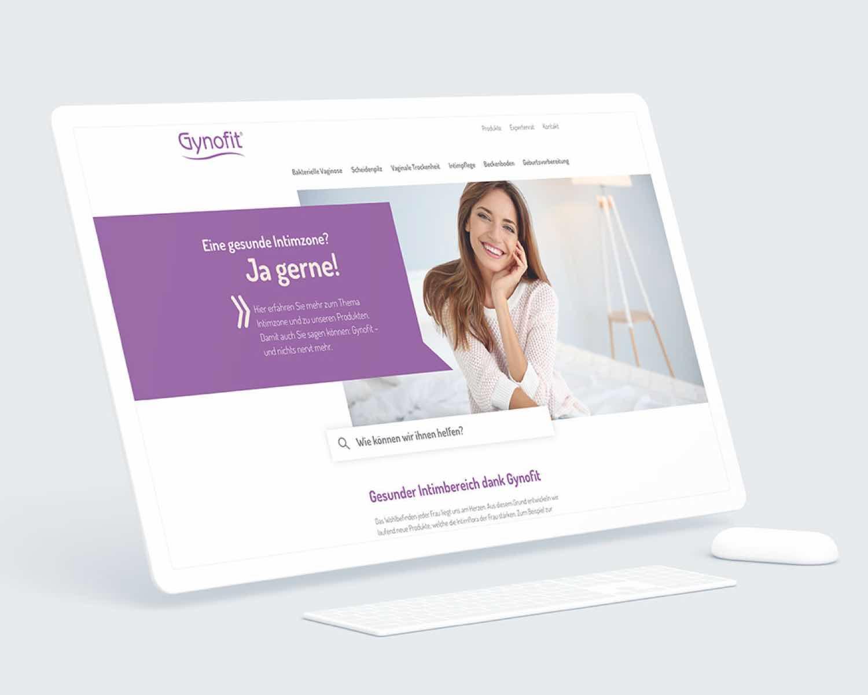 Visualisierung der Webseite von Gynofit auf einem Tablet