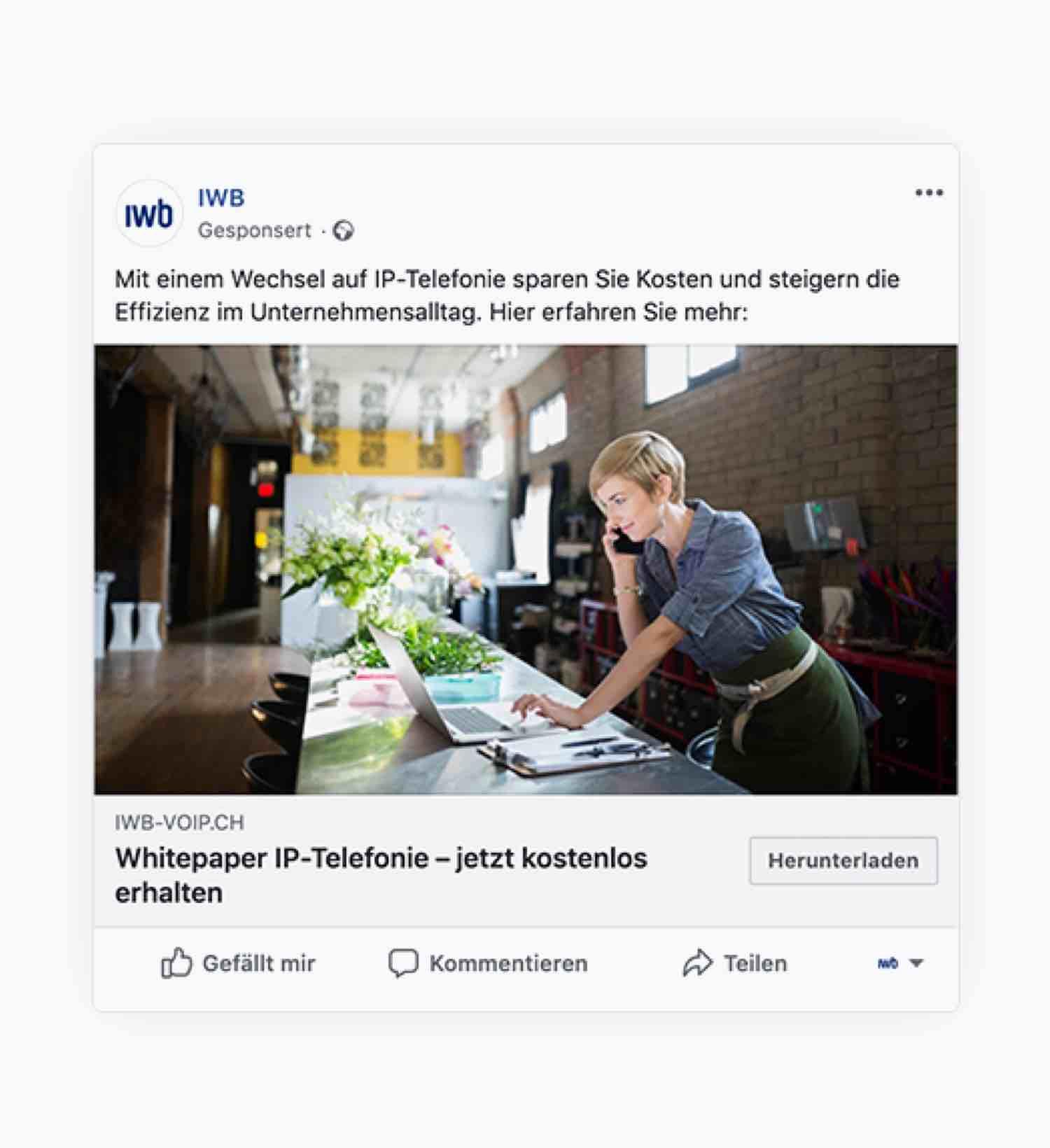 Online Ad von der IWB VoIP-Kampagne