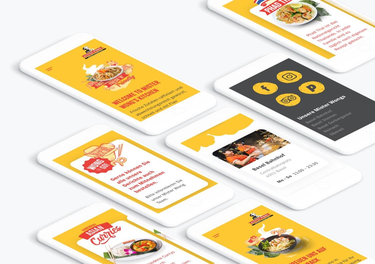 Mister Wong Website auf verschiedenen Smartphones die aufliegen dargestellt