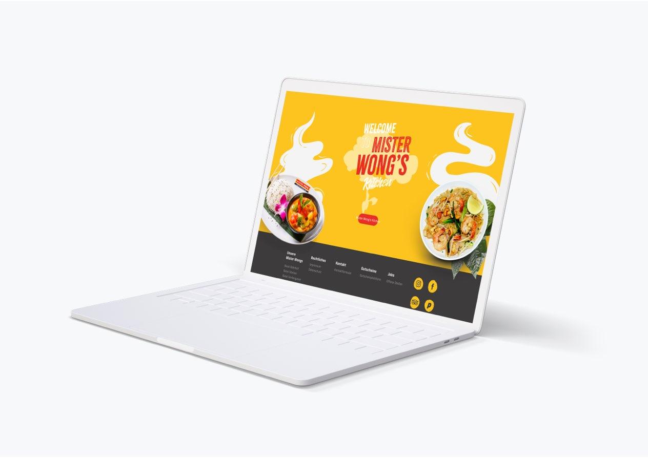 Website vom Mister Wong visualisiert auf einem Laptop