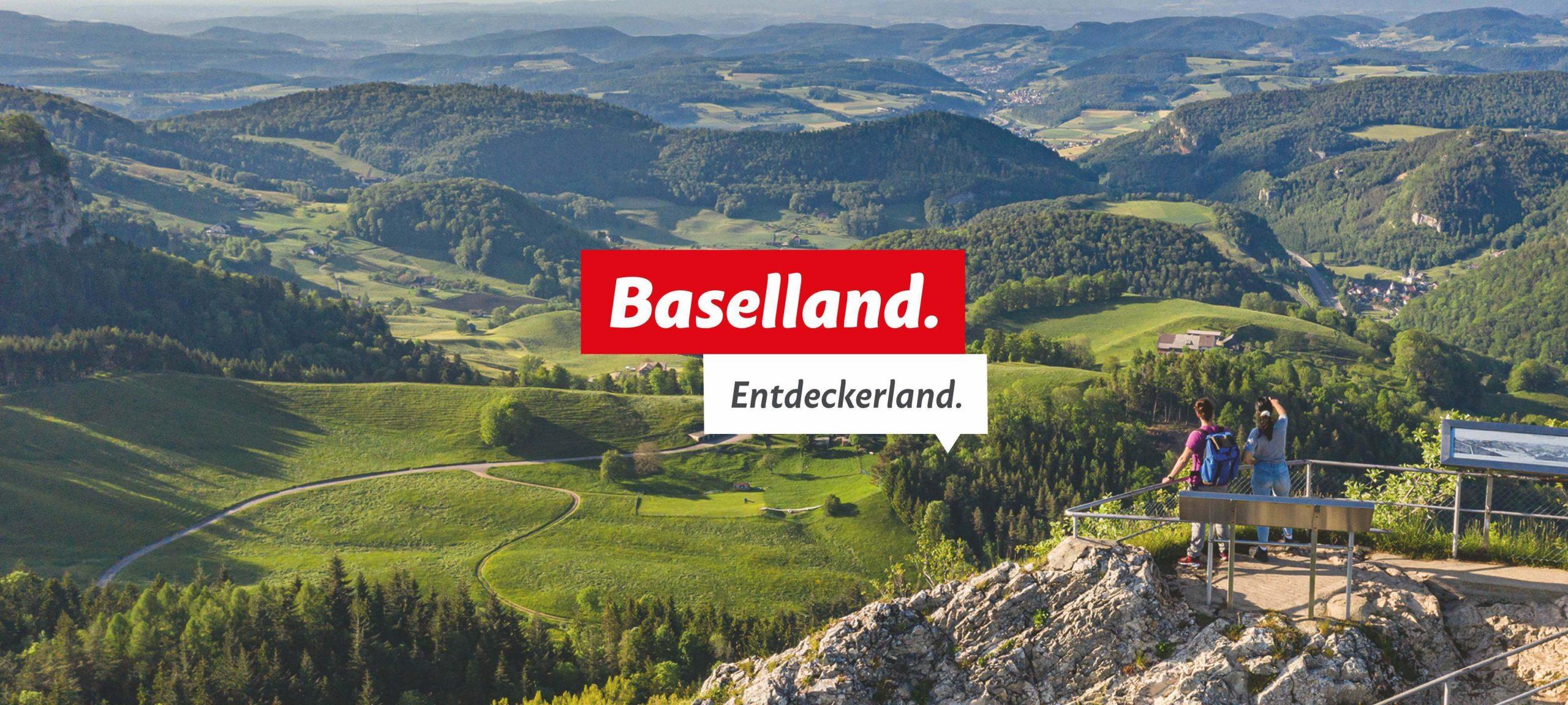 Keyvisual mit Text: Baselland. Entdeckerland.